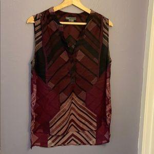 Vince Geometric Silk Sleeveless Blouse Sz L